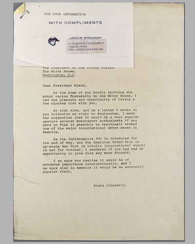 Set of 3 letters between Jackie Stewart, Malcolm Currie (Director of Watkins Glen G.P. Corporation) and President Nixon 3