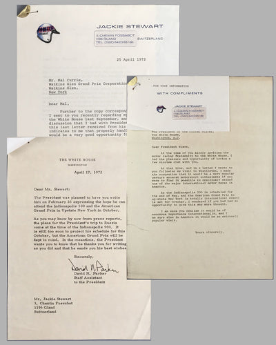 Set of 3 letters between Jackie Stewart, Malcolm Currie (Director of Watkins Glen G.P. Corporation) and President Nixon