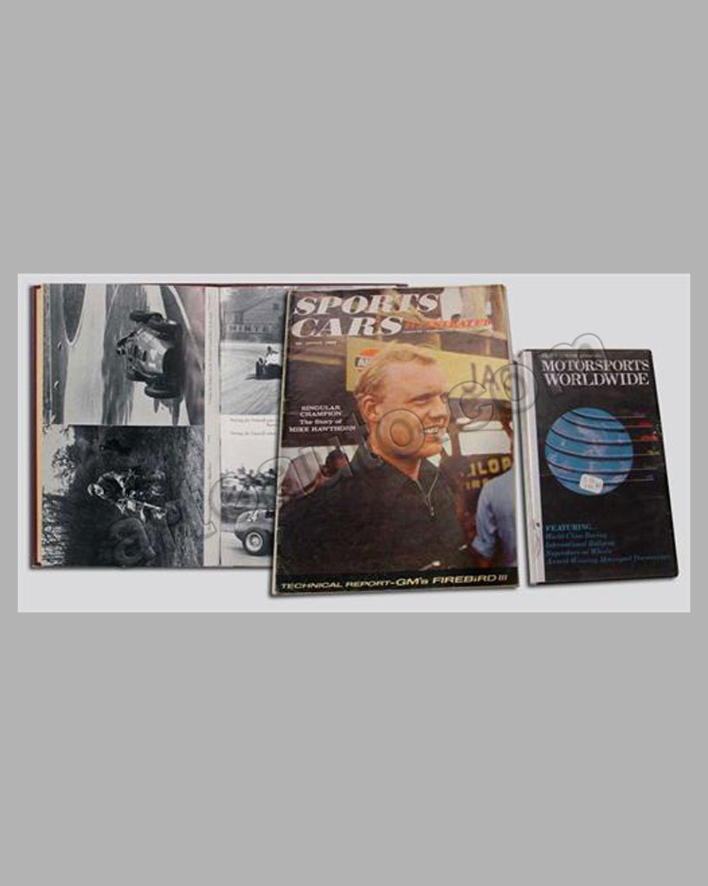 Three Mike Hawthorn items (magazine, video, book)