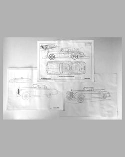 Three Rolls Royce Silver Cloud Drop-head Coupe factory blueprints