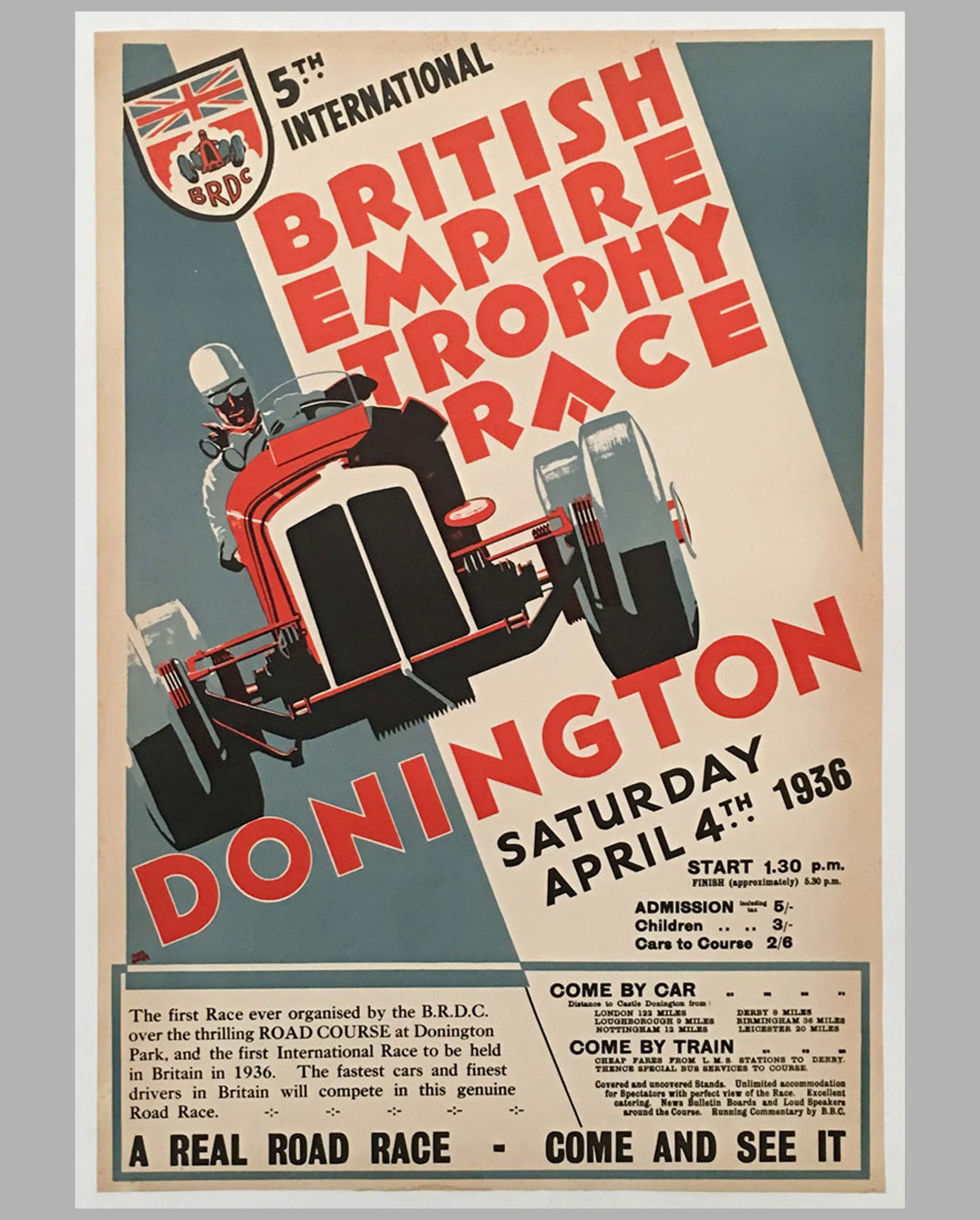 Fifth British Empire Trophy race at Donington 1936 original poster