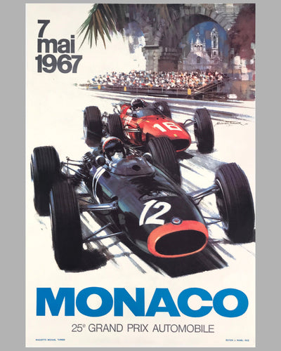 1967 Monaco Grand Prix original poster by Michael Turner