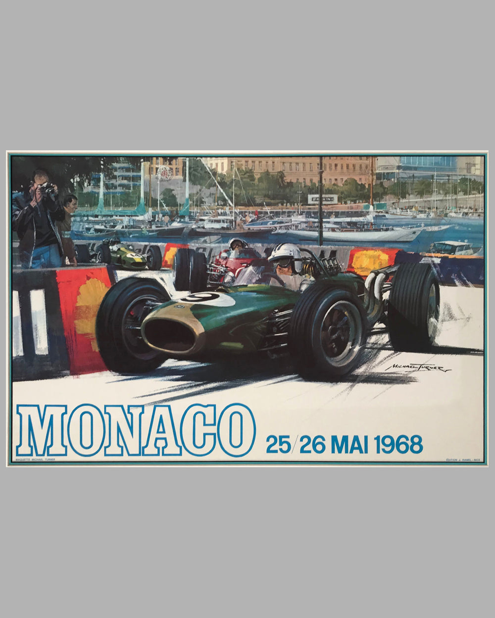 1968 Monaco Grand Prix original poster by Michael Turner