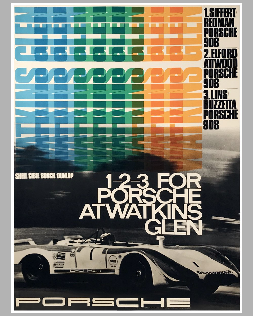 1969 - Six Hours of Watkins Glen Porsche factory victory poster