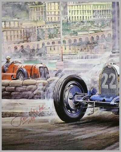 1989 Retromobile event poster autographed by Rene Dreyfus 2