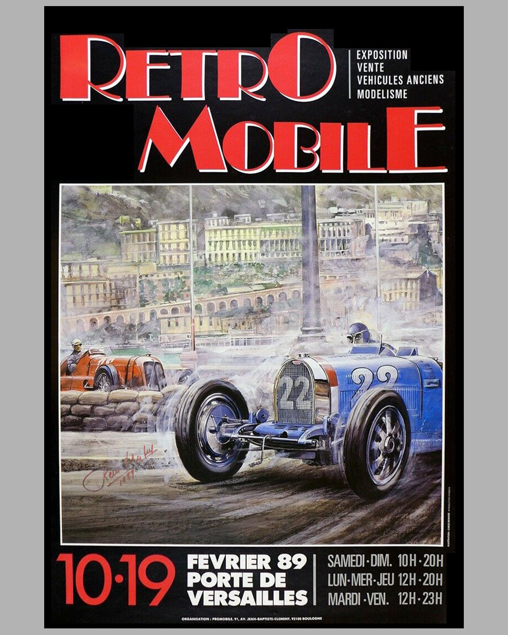 1989 Retromobile event poster by Carlo Demand, autographed by Rene Dreyfus