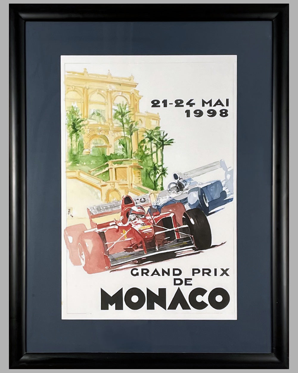 1998 Grand Prix de Monaco proposed original watercolor plus actual poster used