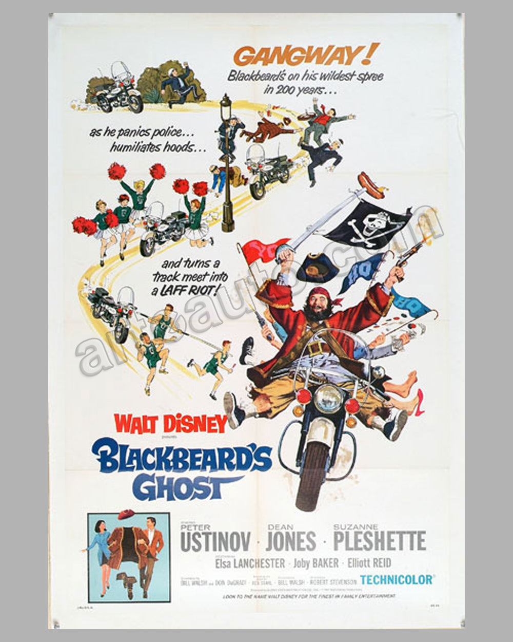 1968 original movie poster, for Walt Disney film Blackbeard's Ghost