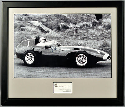 Autographed Photograph of Sir Stirling Moss Racing His Vanwall VW10 Formula One 1958