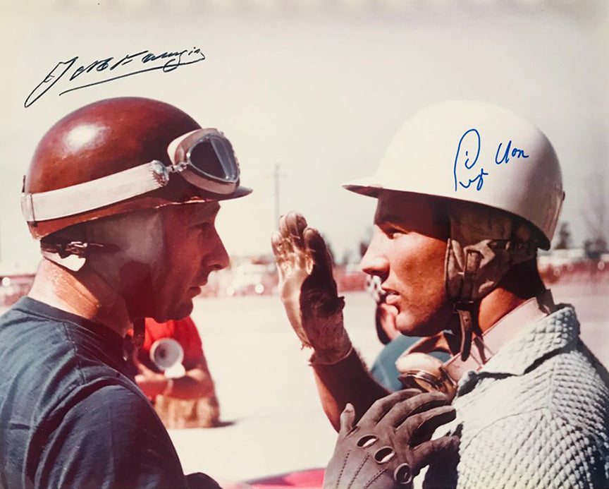 1957 - 12 Hrs. of Sebring Juan Manuel Fangio & Stirling Moss Color Autographed Photograph
