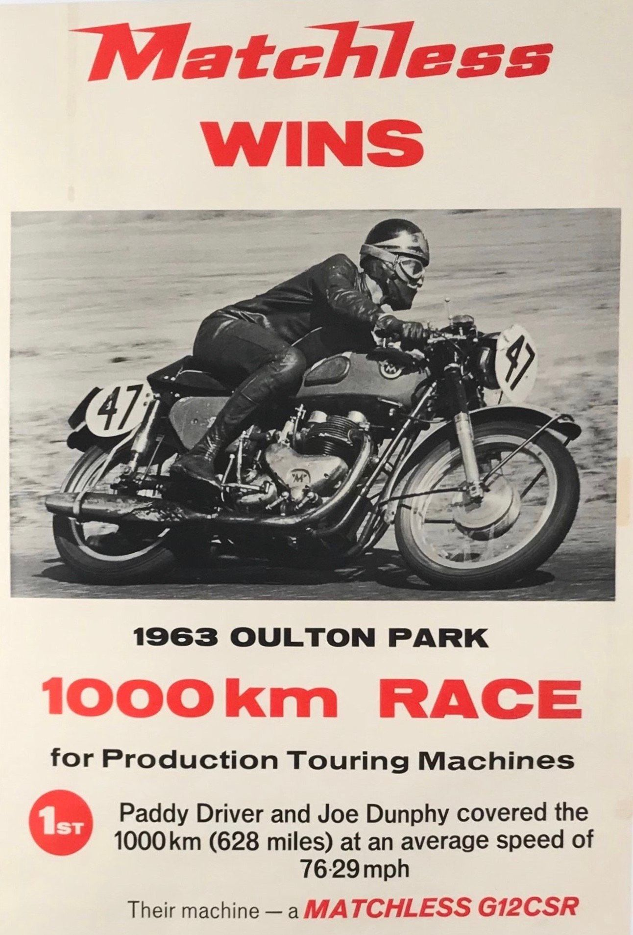 1963 Matchless motorcycle advertising poster