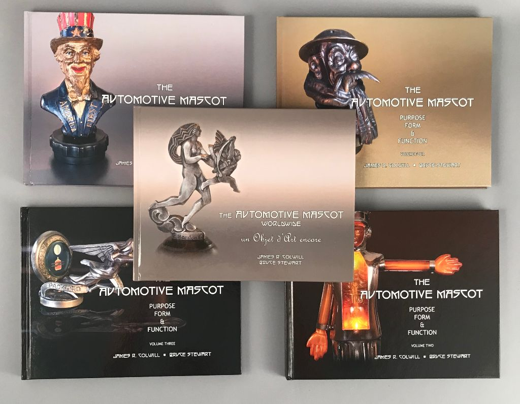 Collection of 5 different automotive mascots books by James Colwill and Bruce Stewart