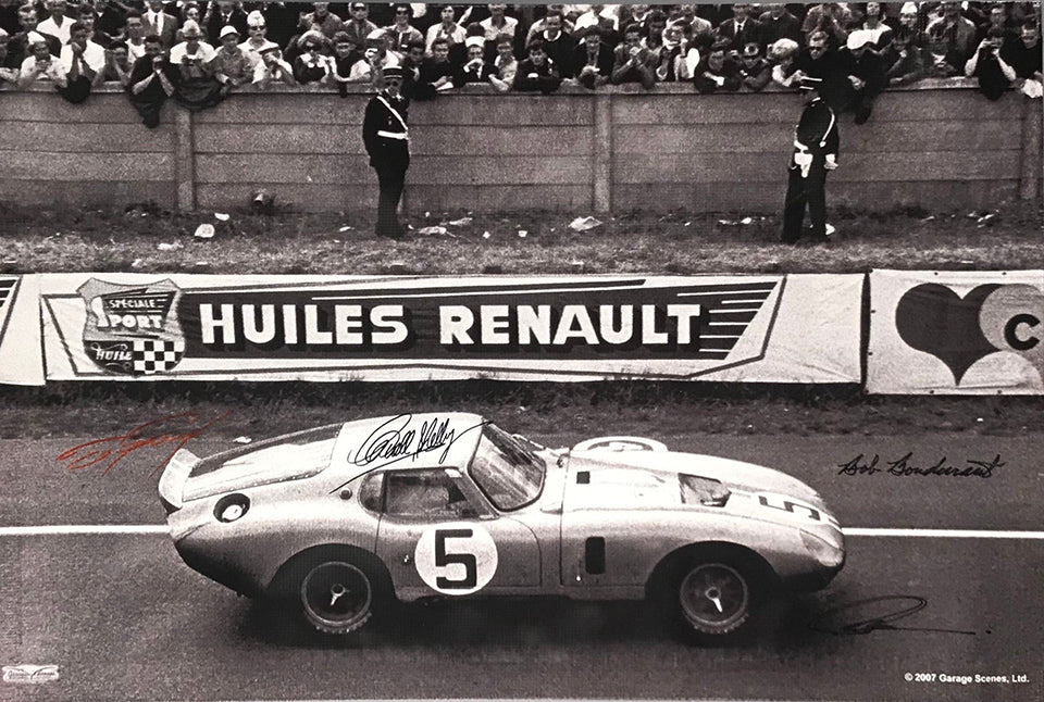 1964 24 hours of Le Mans photograph on vinyl banner