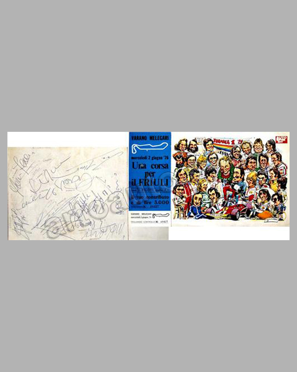 Una corsa per il Friuli-1976 admission ticket with souvenir print, fourteen autographs