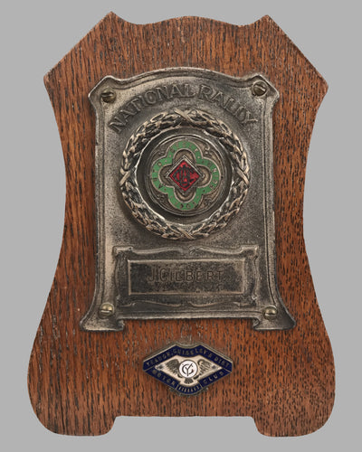 Auto Cycle Union Nat'l Rally award plaque, enamel on metal