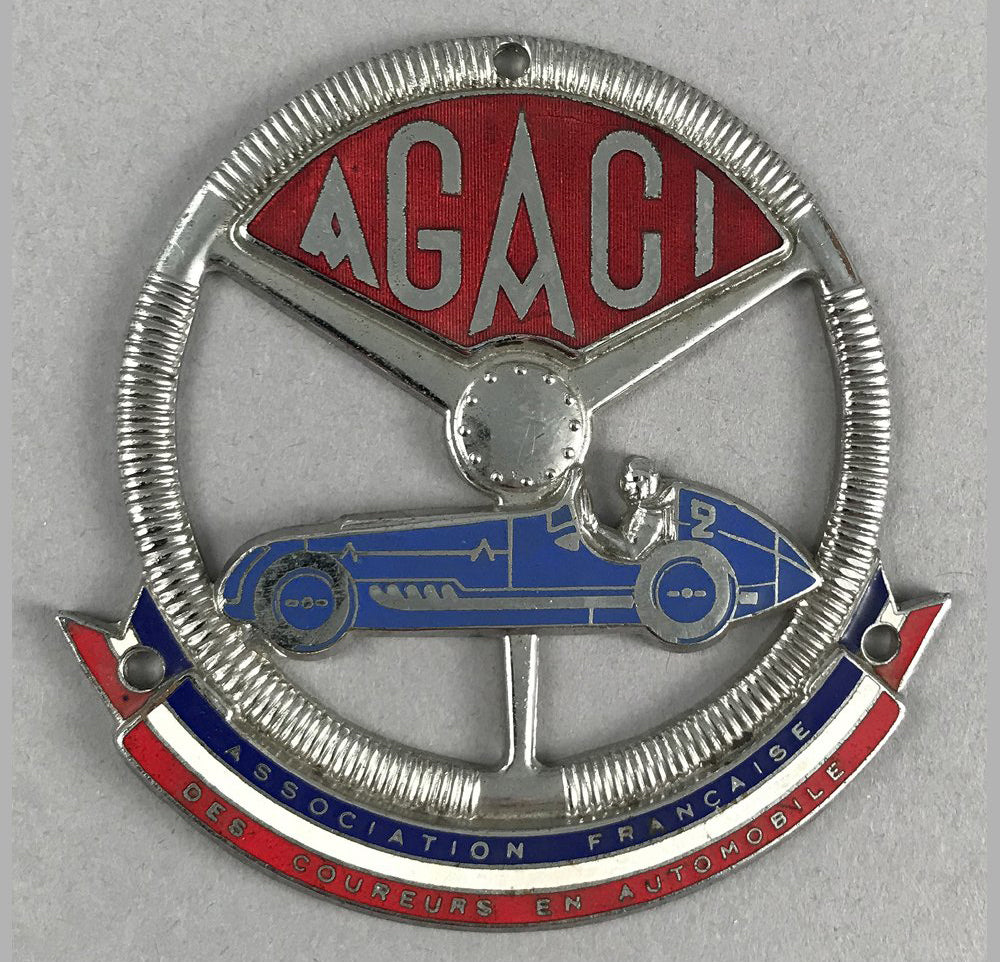 AGACI - Association Francaise des Coureurs en Automobile grill badge, 1930's