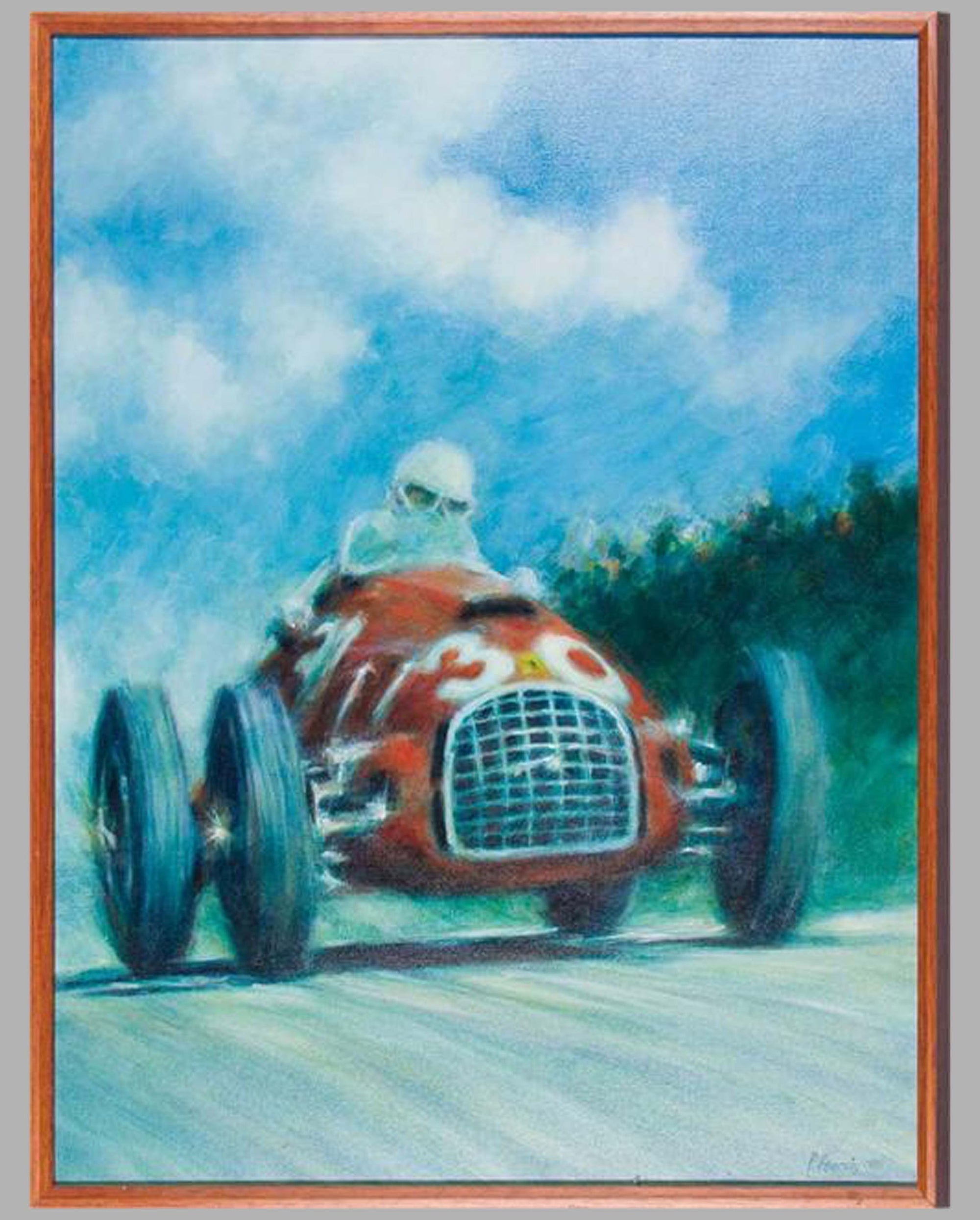 Alberto Ascari in Ferrari 125 oil on canvas signed by Peter Hearsey