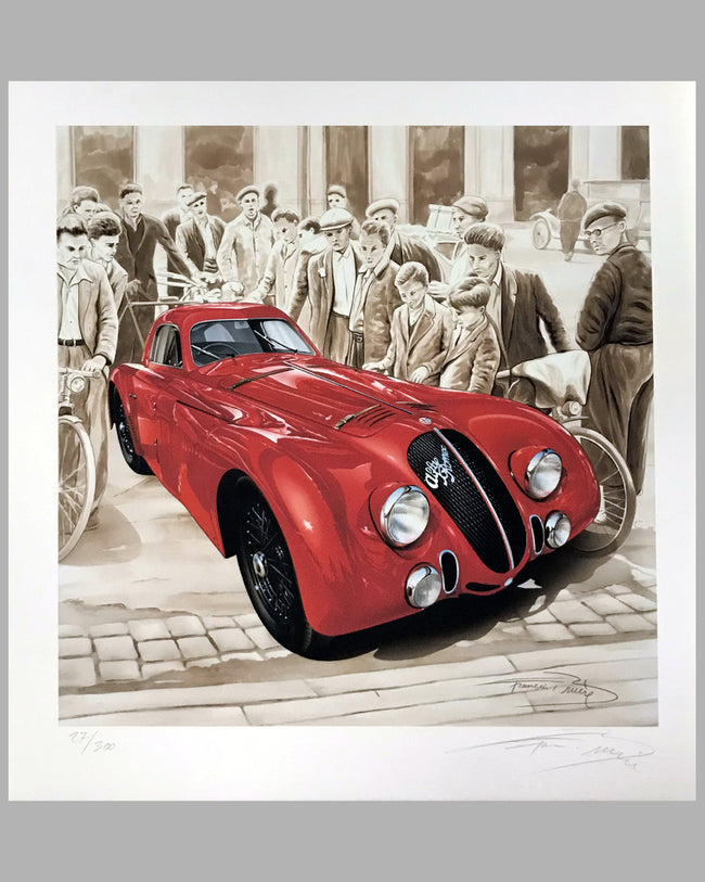 Alfa Romeo 8C Arrives at Le Mans 1938 print by Francois Bruère, France