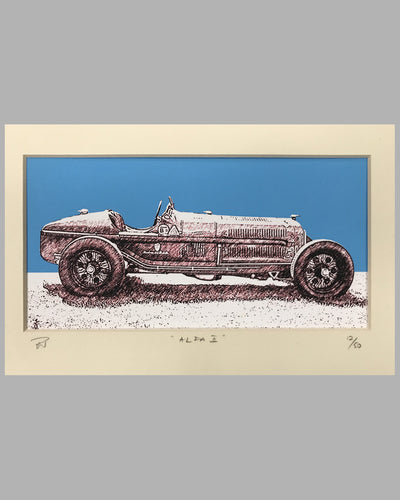 Alfa Romeo P2 multicolor print by R. G. H. Whyte, England, 2004, signed ed. of 50