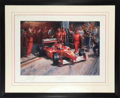 Just Another Day At The Office print by Alan Fearnley, autographed by Michael Schumacher