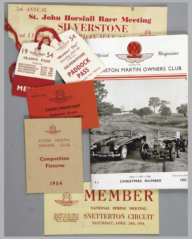Aston Martin Owners Club Magazine and Racing Passes