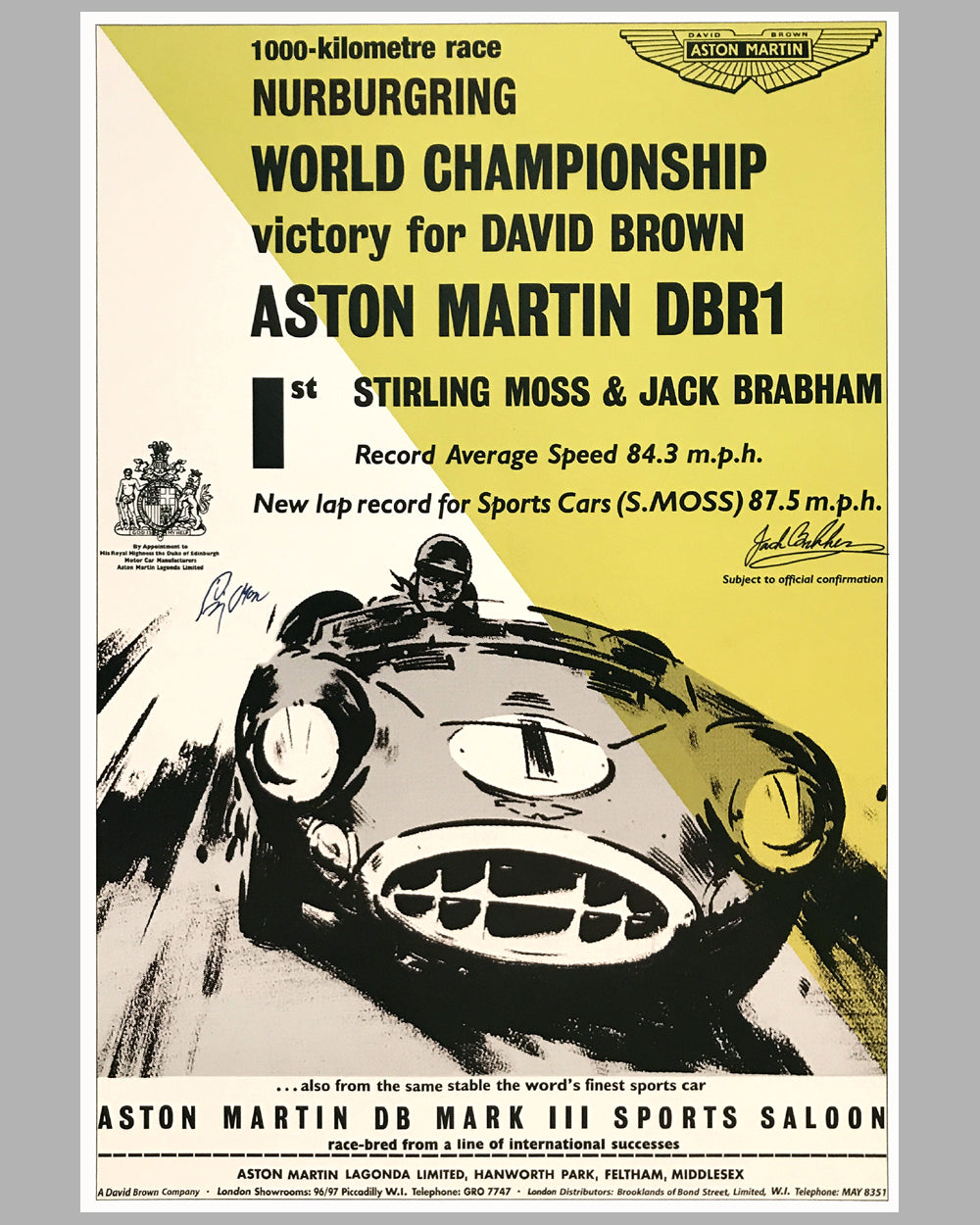 1000 KM of Nurburgring autographed Aston Martin victory poster