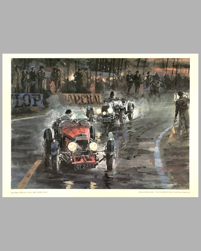 Aston Martins at Le Mans multicolor print by Walter Gotschke