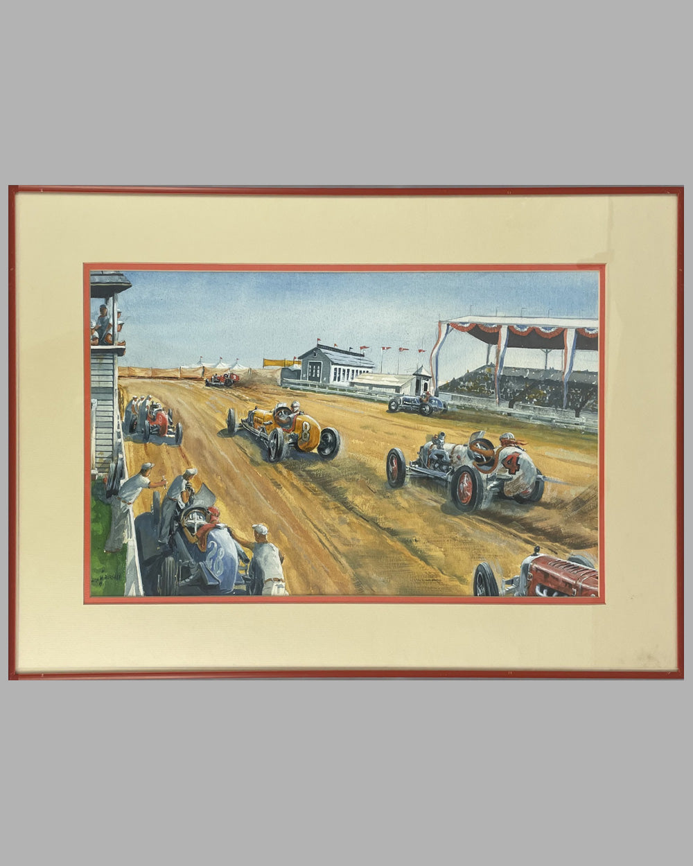 "19 - ""At the Races"" original gouache painting by John Burgess - Est. $1600-$2200"
