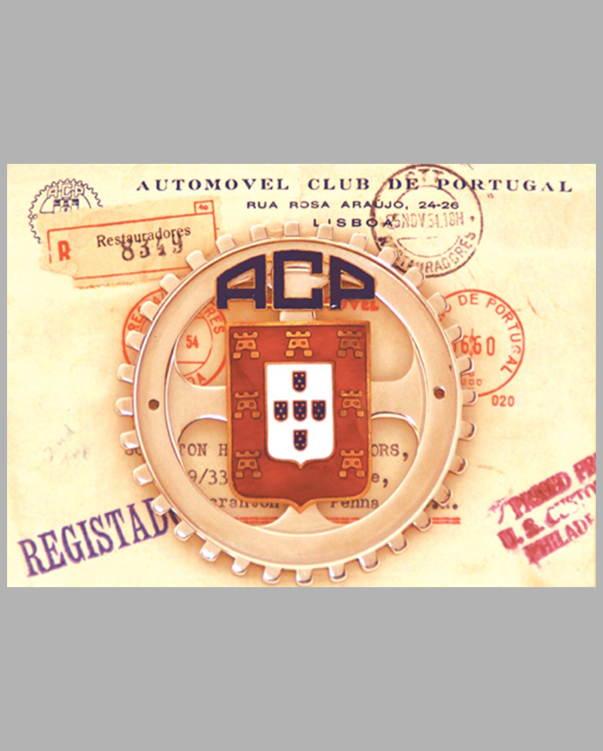 ACP (Auto Club of Portugal) member's badge, mid-1950's