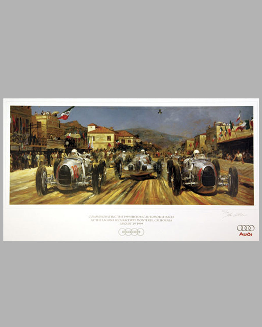 Auto Union at the Coppa Acerbo 1937 print by John Gable