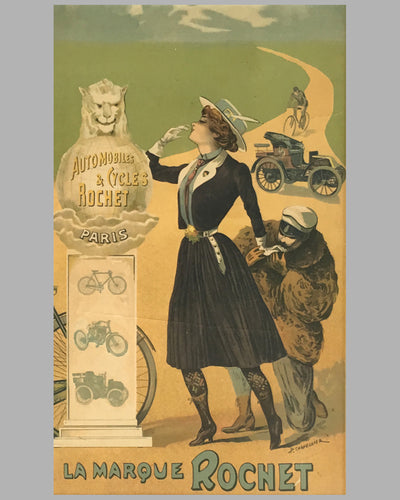 Automobiles & Cycles Rochet original poster by Philippe Chapellier circa 1900 2
