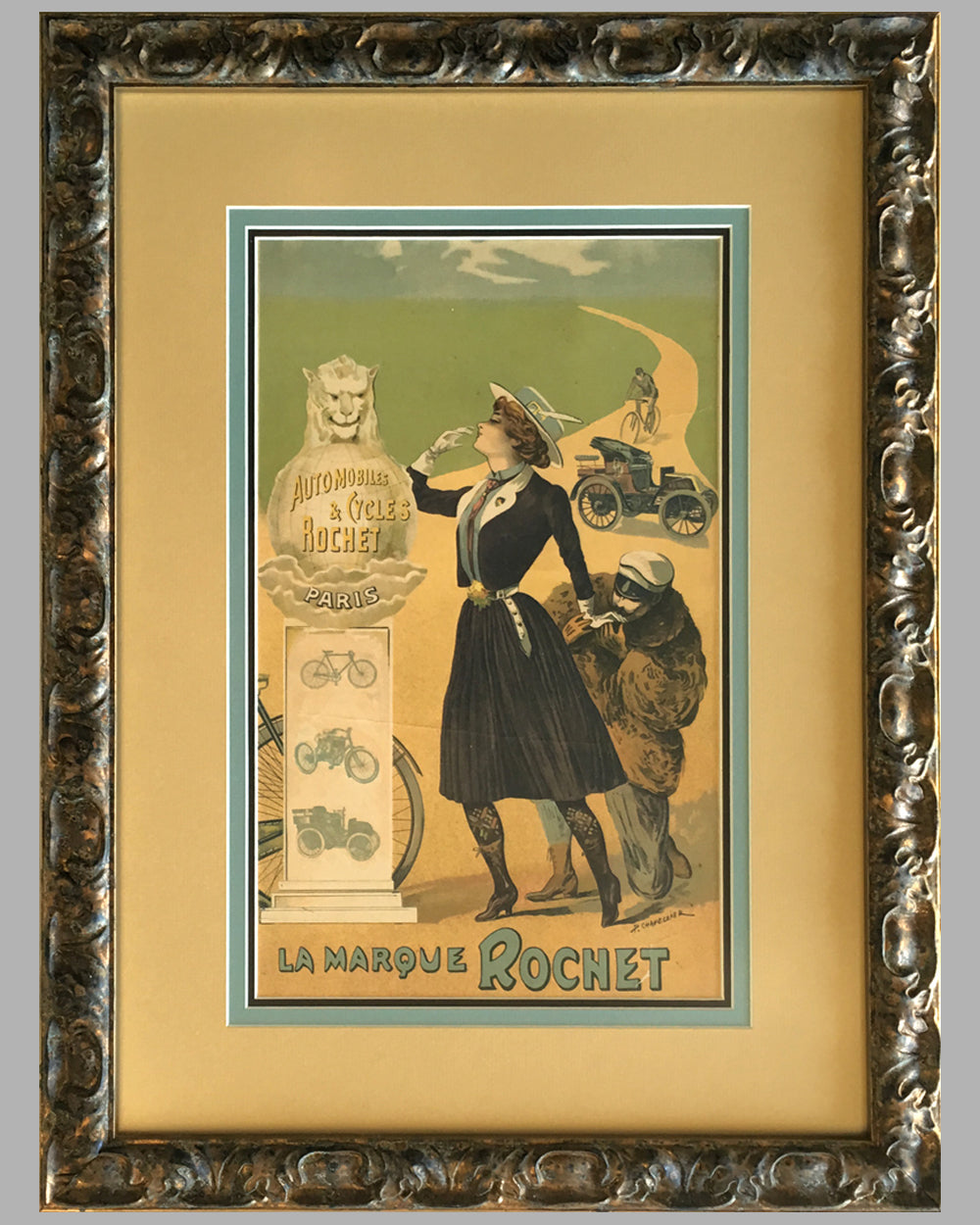 Automobiles & Cycles Rochet original poster by Philippe Chapellier circa 1900