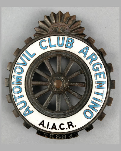 Automovil Club of Argentino member grill badge, 1930's