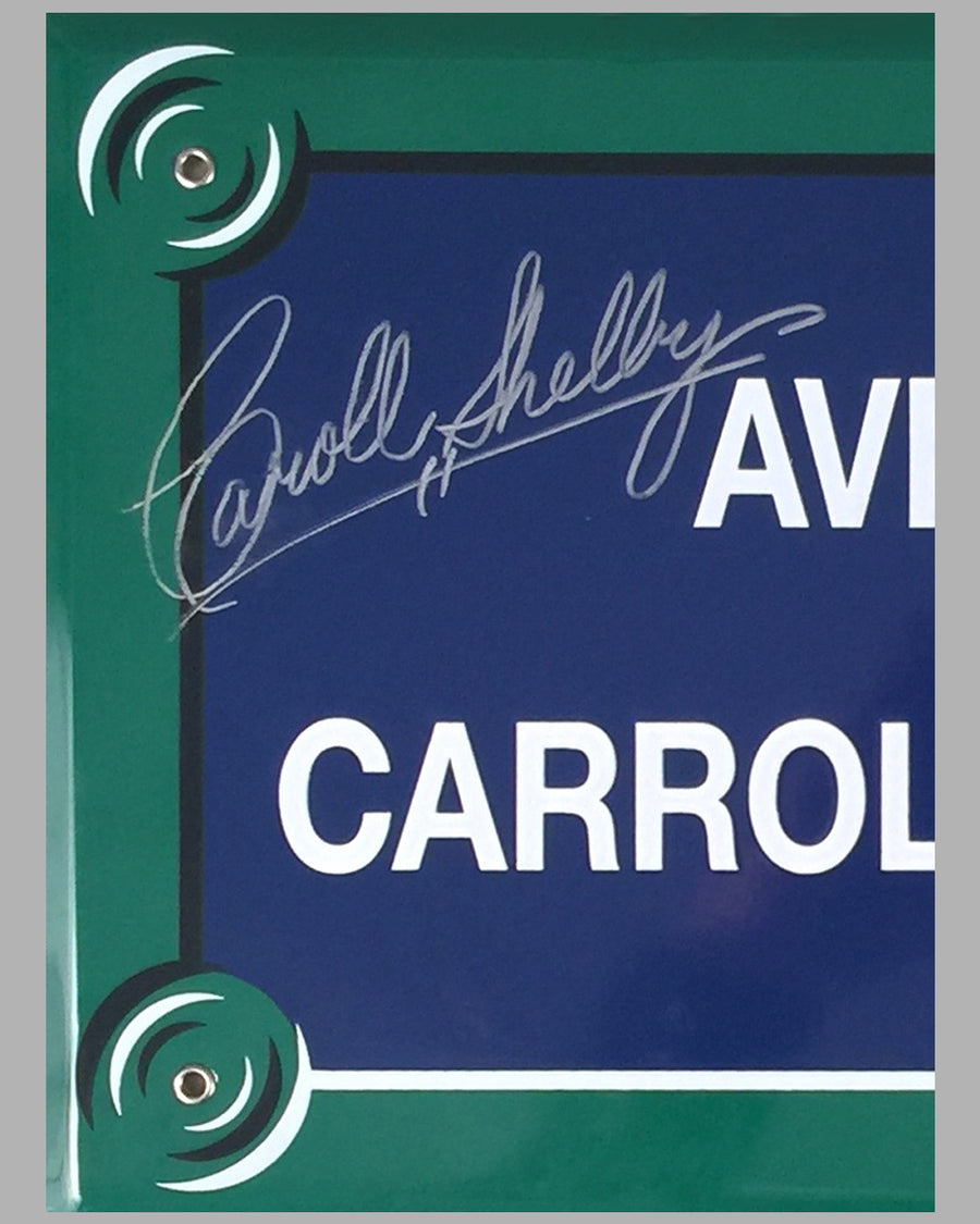"""Avenue Carroll Shelby"" French enamel on metal street sign, autographed by Carroll Shelby 2"