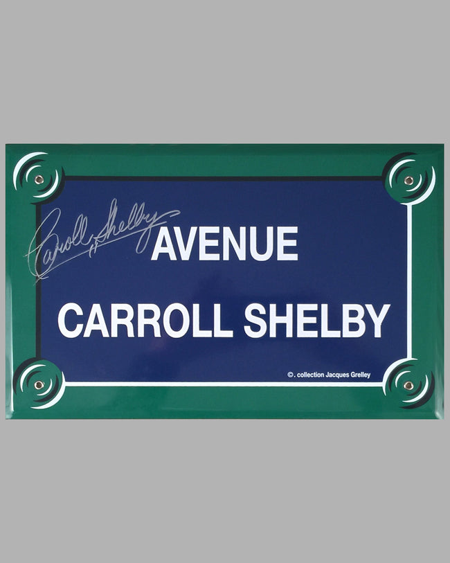 """Avenue Carroll Shelby"" French enamel on metal street sign, autographed by Carroll Shelby"