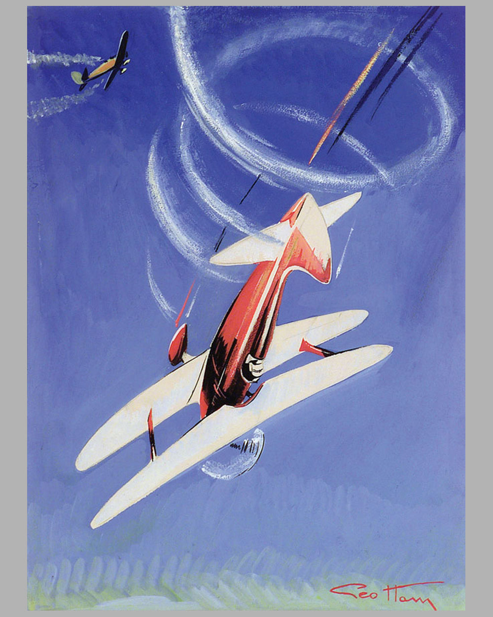 "Aviation Aerobatic Loops original painting by Geo Ham<br><span style=""color: #ff0000;"">Contact Us</span>"
