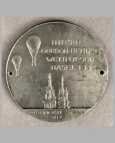 1932 International Gordon Bennett balloon race in Basel Germany pewter badge