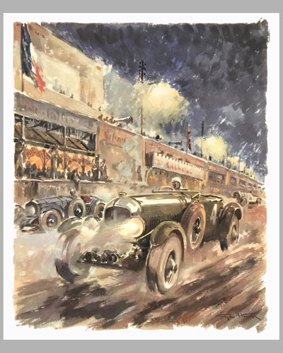 Bentley at Le Mans 1930, 1980's print by Geo Ham