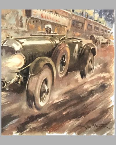 Bentley at Le Mans 1930, 1980's print by Geo Ham 2