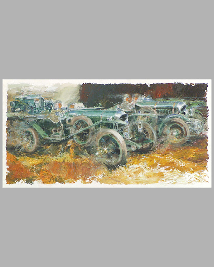 Bentleys at Le Mans by John Francis Marsh (USA), ca. 2001, watercolor painting