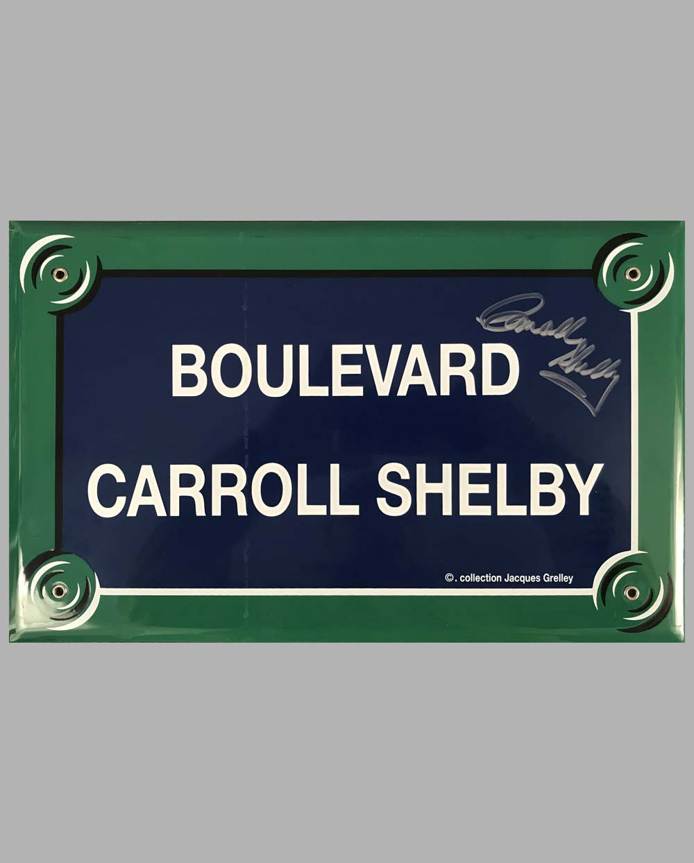 """Boulevard Carroll Shelby"" French enamel on metal street sign, autographed by Carroll Shelby"