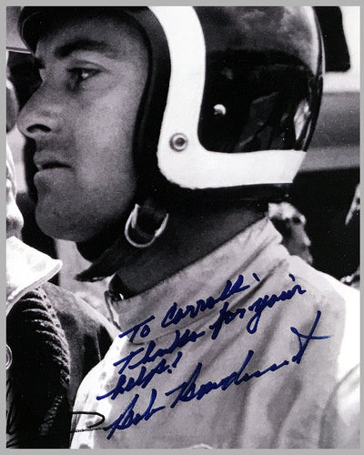 Copy of Dan Gurney, Carroll Shelby and Bob Bondurant autographed b&w photograph on rag paper 2