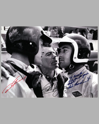 Copy of Dan Gurney, Carroll Shelby and Bob Bondurant autographed b&w photograph on rag paper