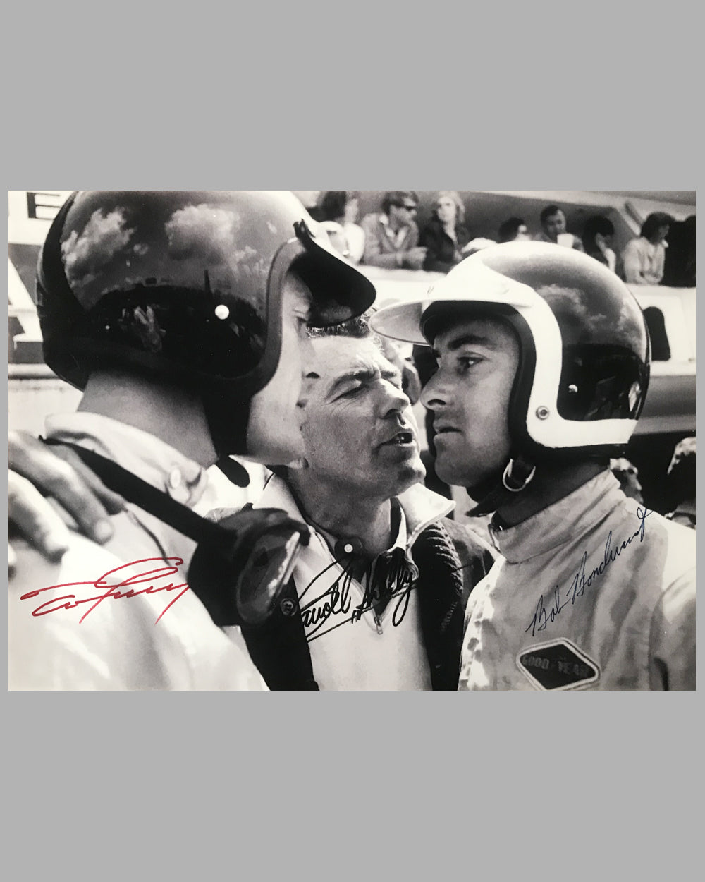 Dan Gurney, Carroll Shelby and Bob Bondurant autographed b&w photograph on rag paper