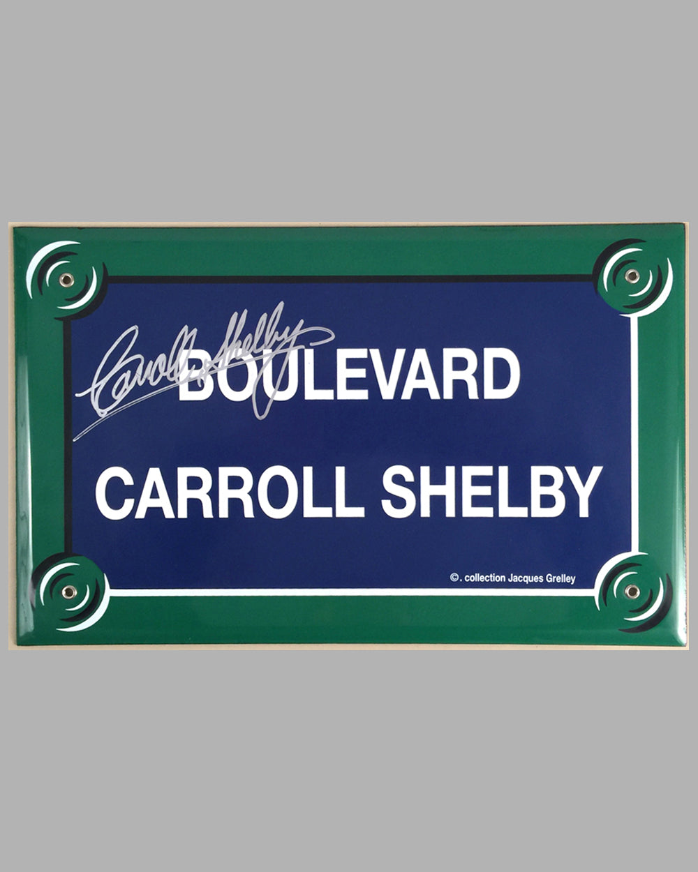 """Boulevard Carroll Shelby"" French enamel on metal street sign"