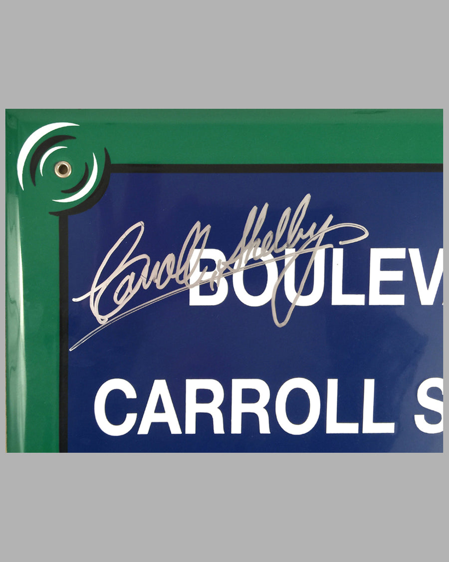 """Boulevard Carroll Shelby"" French enamel on metal street sign 2"
