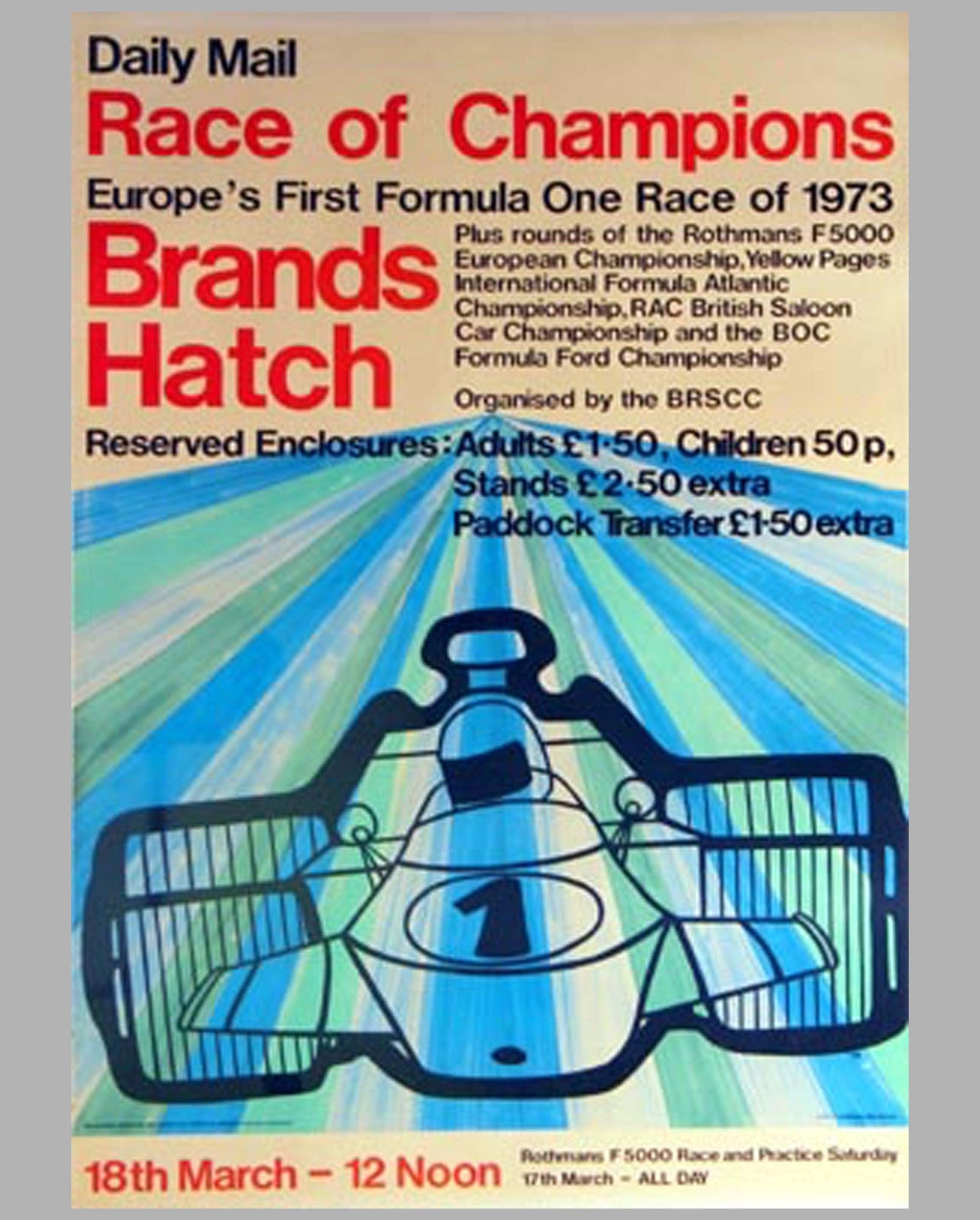 1973 Brands Hatch F1 (Race of Champions) event poster