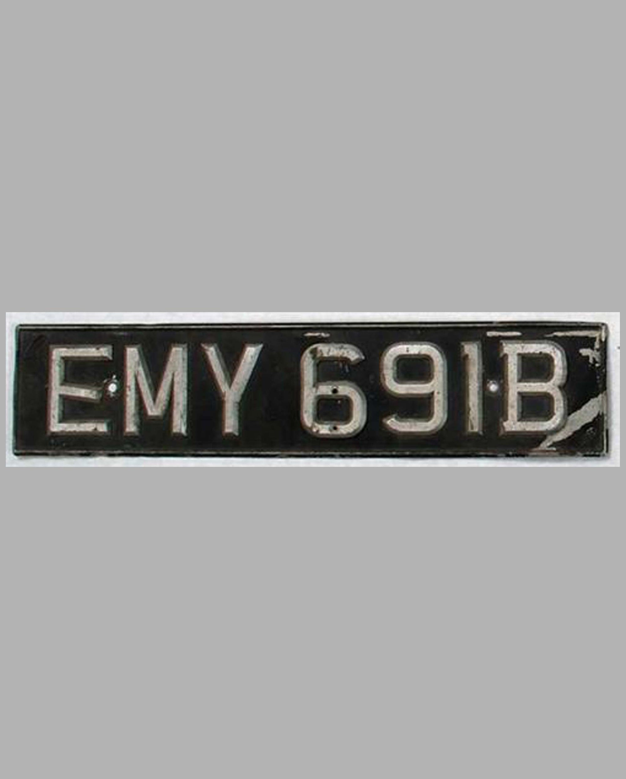Original 1960's British License Plate EMY691B