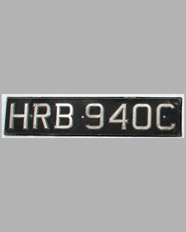 Original 1960's British License Plate HRB940C