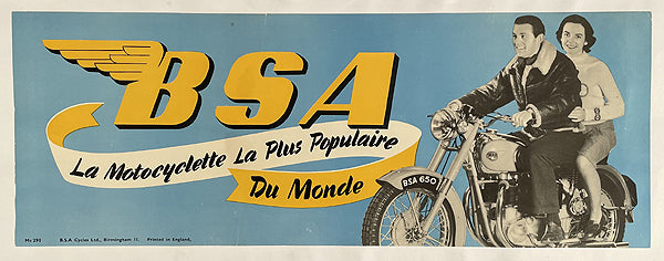 BSA 650 original showroom poster, 1960's